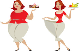 Vector illustration of changes in sizes choosing different diet